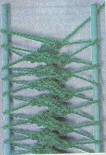 Способы  вязания  середины  полосы  крючком  на  вилке