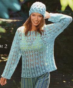 Пуловеры ажурные и шапочка крючком