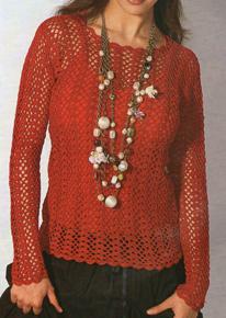 Фото Ярко - красный пуловер