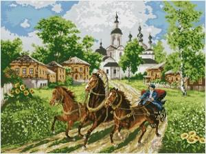 Тройка лошадей в упряжи