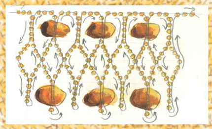 Колье янтарное и браслет