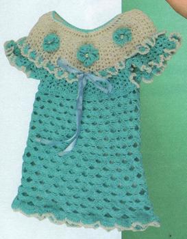 Платье голубое с белой кокеткой