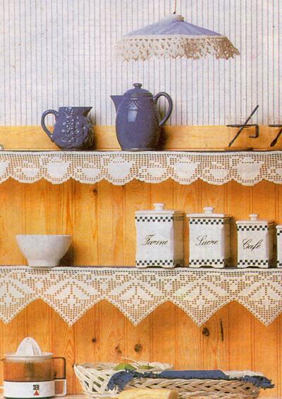 Кайма для абажура, с посудой и зубчатая