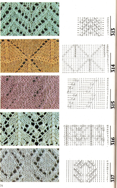 Узоры вязания спицами с 248 по 327