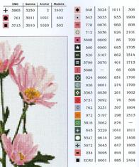Голубые цветы и розовое соцветие